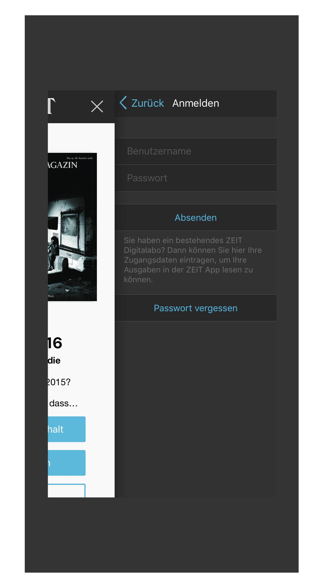 iPhone ZEIT E-Paper-App Anmeldung