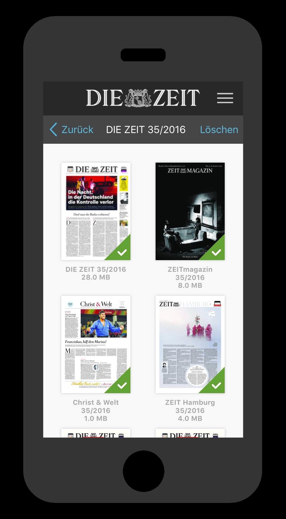 iPhone ZEIT E-Paper-App Ausgabenübersicht