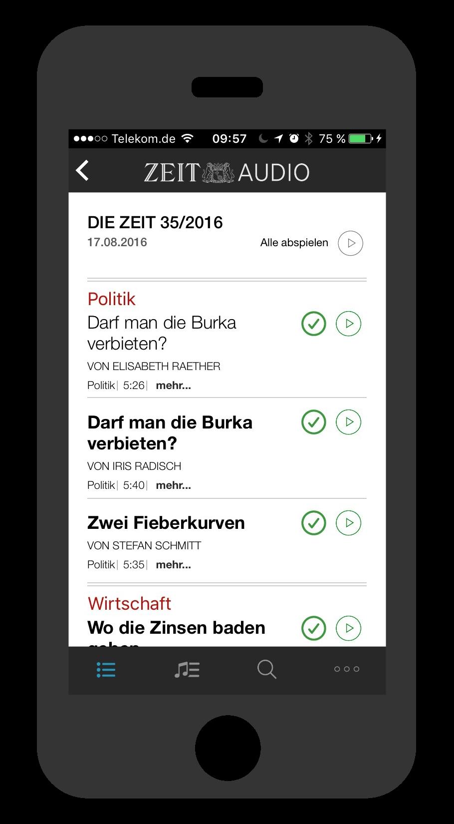 iPhone ZEIT Audio Artikelübersicht
