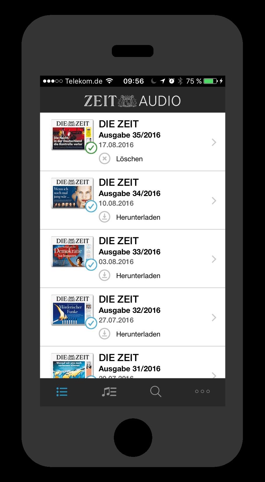 iPhone ZEIT Audio Ausgabenübersicht
