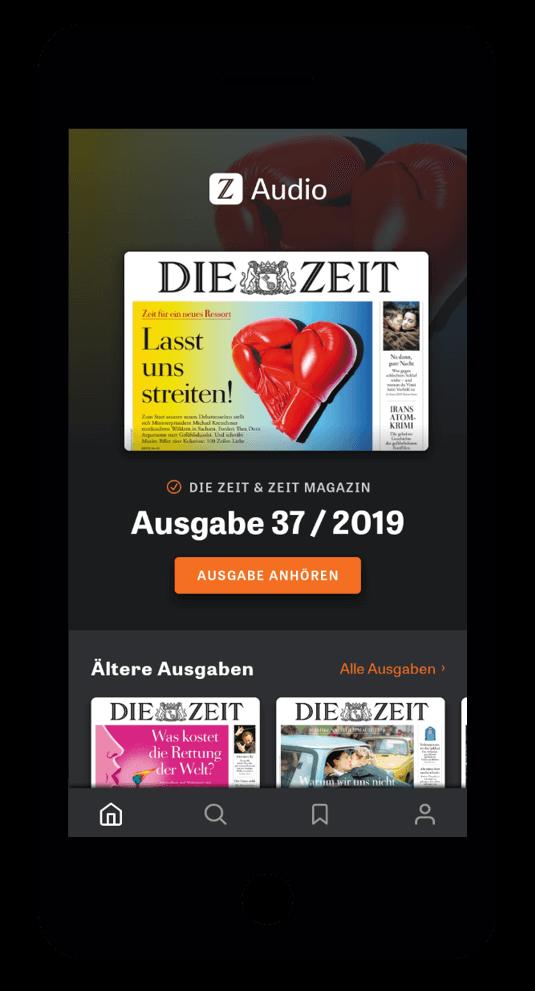 iPhone ZEIT Audio-App Startseite