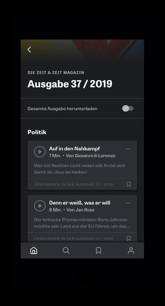 iPhone ZEIT Audio-App Tracklist
