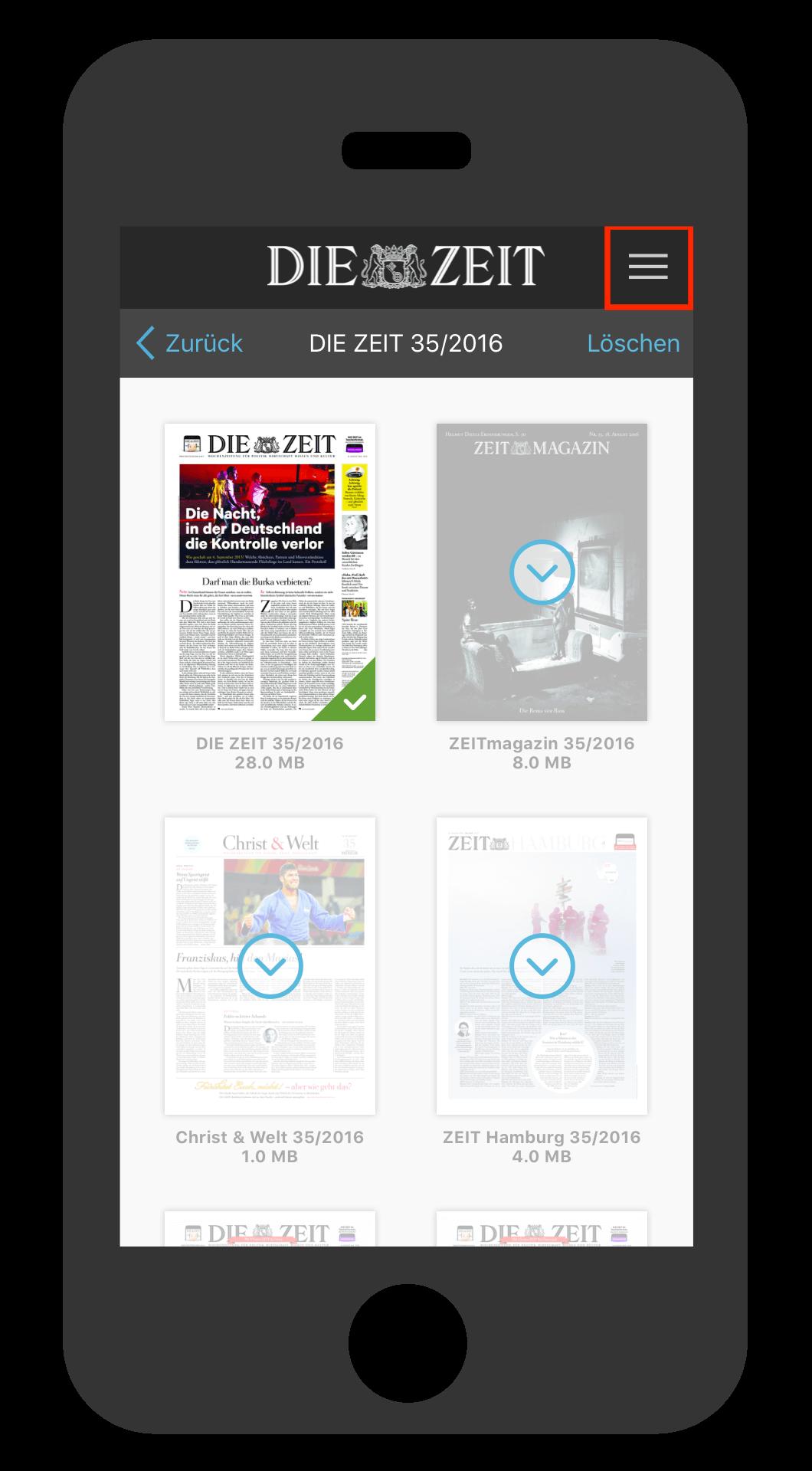 iPhone ZEIT E-Paper-App Favoriten