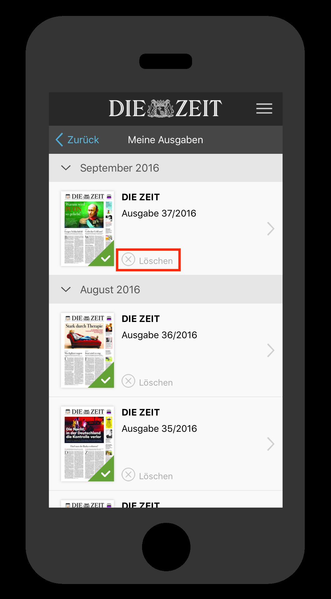 iPhone ZEIT E-Paper-App Ausgabe löschen