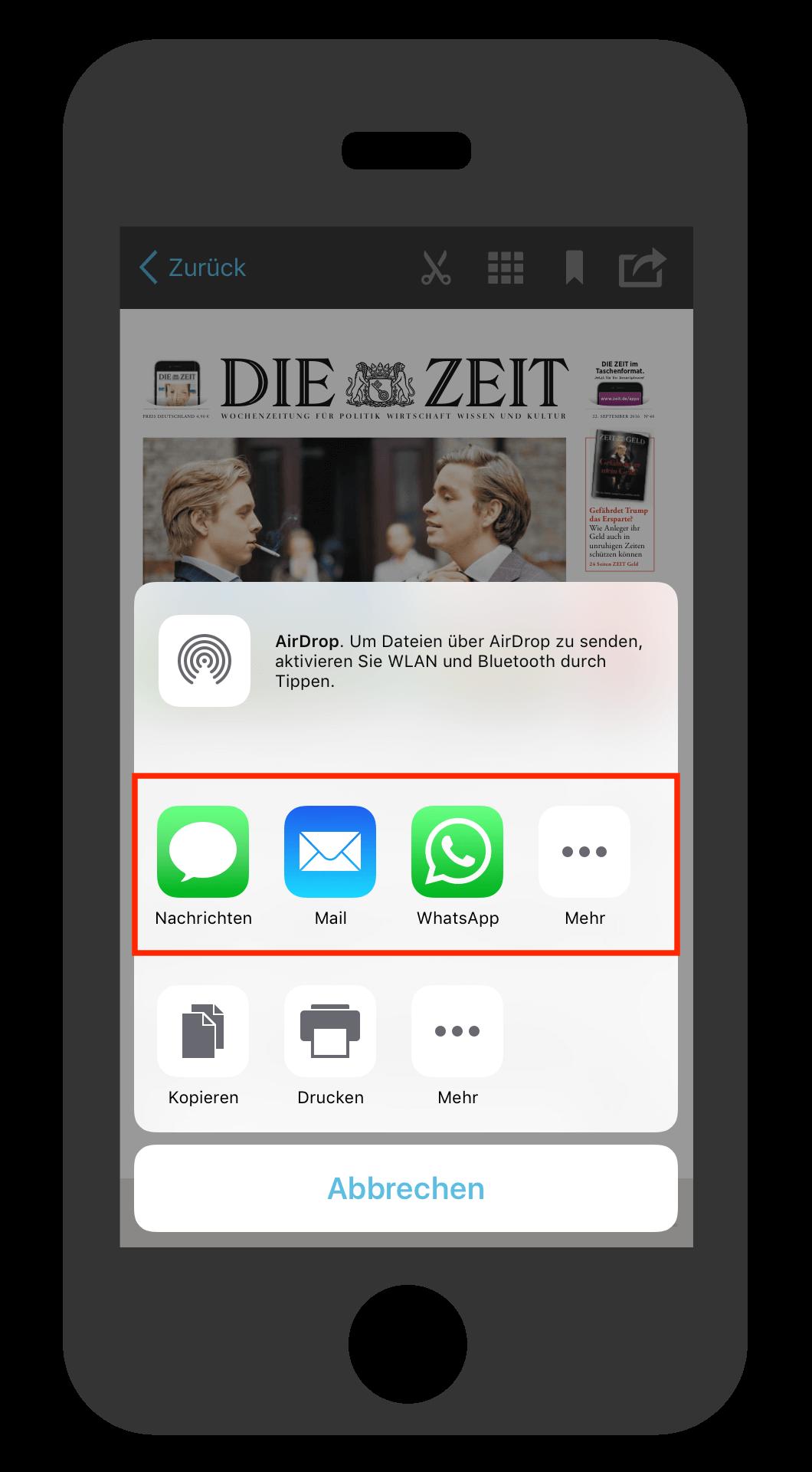 iPhone ZEIT E-Paper-App Artikel versenden