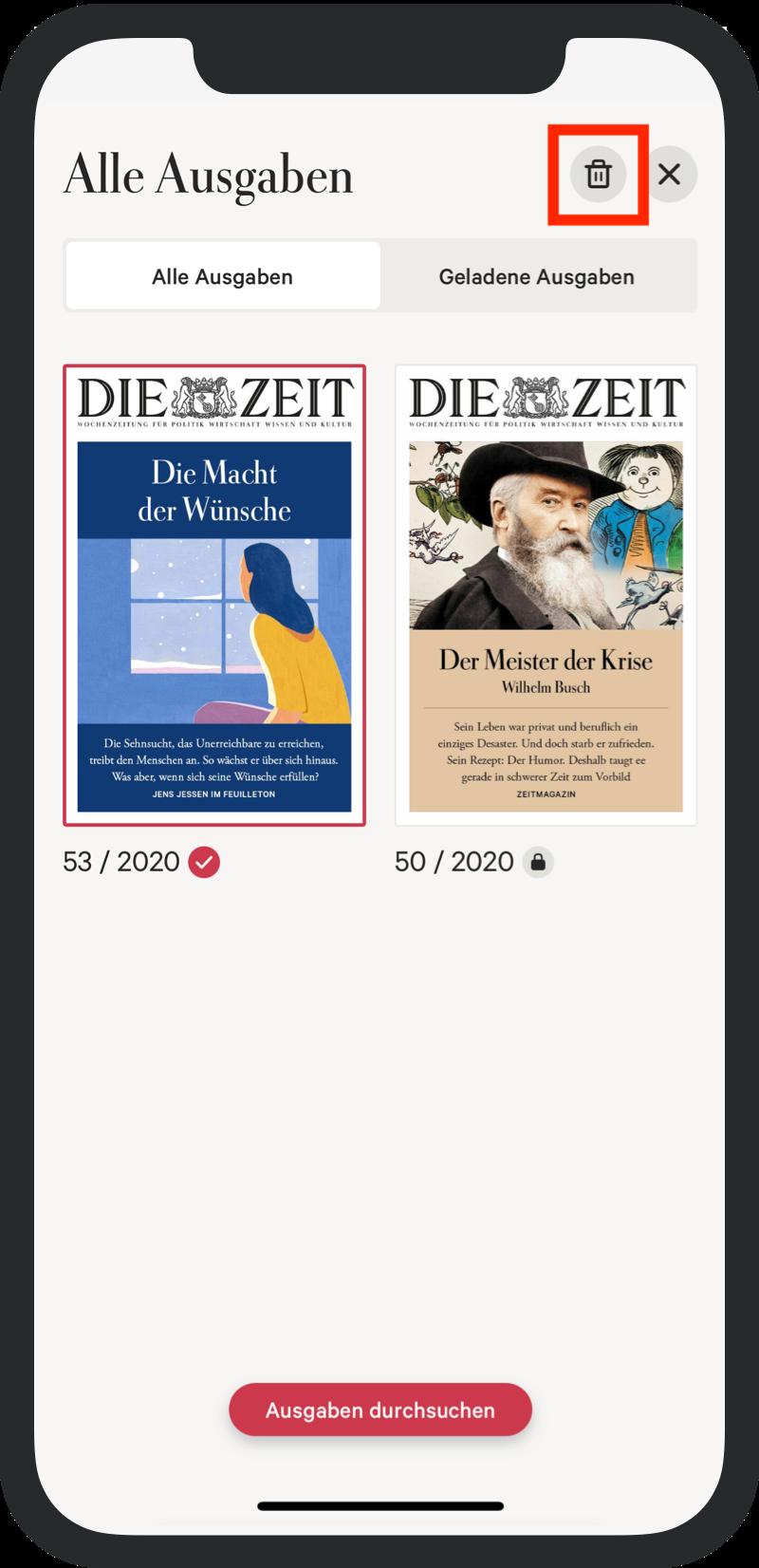 iPad ZEIT App Ausgabe löschen