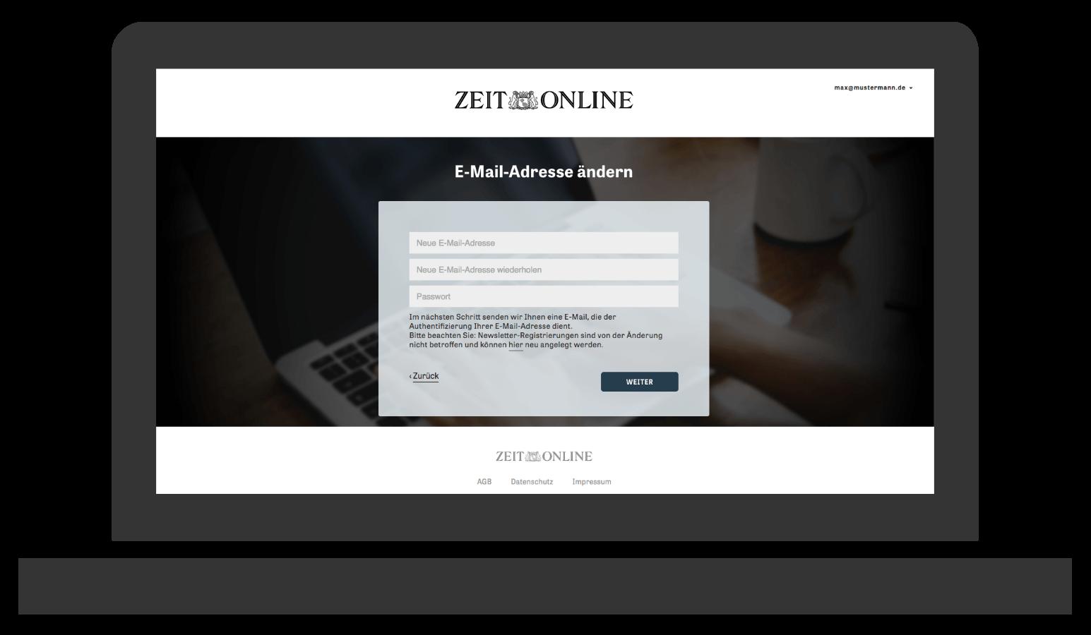 DIE ZEIT E-Mail-Adresse ändern