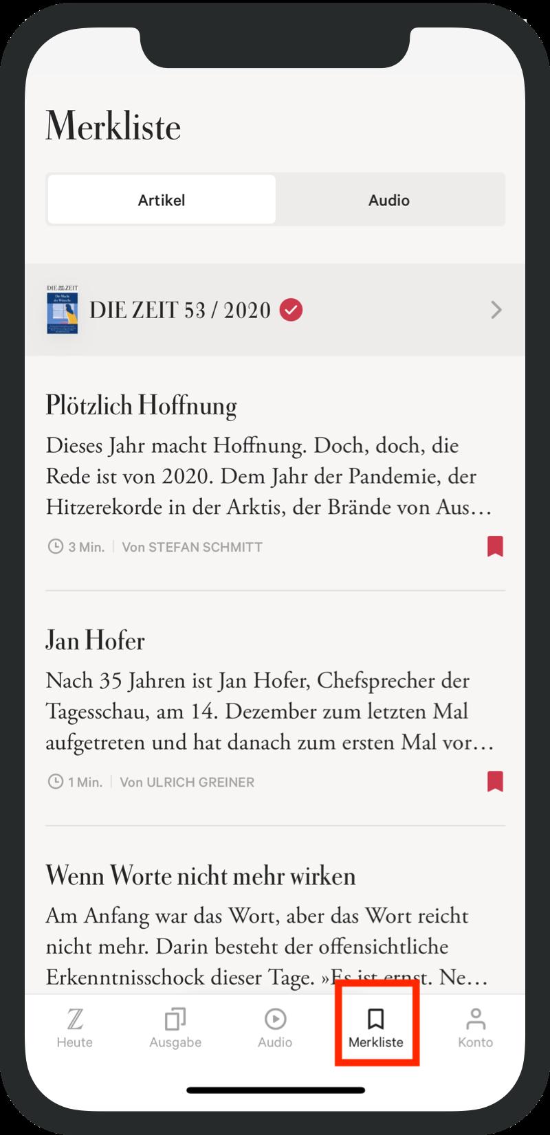 iPad ZEIT App Favoriten